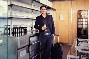 travelling salesperson in business lounge