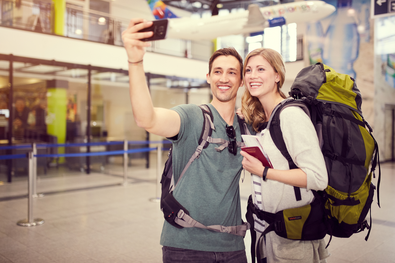 Backpacker take selfie in the terminal