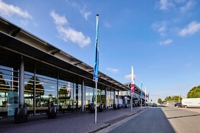 flags in front of the terminal